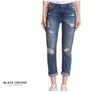 Black Orchid Cuffed  Distressed Cropped Jeans NWT
